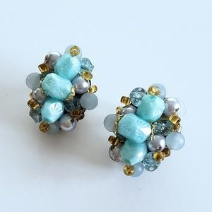 German Vintage Beaded Cluster Clip Earrings- Aqua
